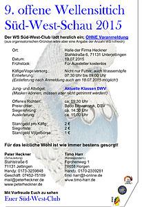Einladung zur 9. offenen Wellensittich Süd-West-Schau 2015