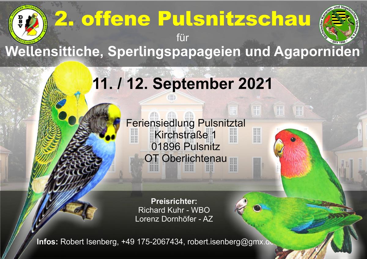 2. offene Pulsnitzschau für Wellensittiche, Sperlingspapageien und Agaporniden